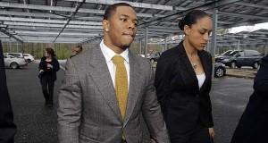 In this May 1, 2014, file photo, Ray Rice holds hands with his wife Janay Palmer as they arrive at Atlantic County Criminal Courthouse in Mays Landing, N..J. A judge in New Jersey has dismissed domestic violence charges against Ray Rice, who was captured by a surveillance camera knocking his then-fiancee unconscious in a hotel elevator. Judge Michael Donio dismissed the charges Thursday, May 21, 2015,  after the Atlantic County prosecutor told him the former Baltimore Ravens running back had completed the terms of his pretrial intervention.(AP Photo/Mel Evans, File)