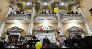 Balloons fall in the Senate on April 10  to mark the end of the 2018 legislative session. (Maximilian Franz/The Daily Record)