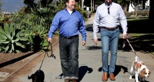 In this Feb. 23, 2012, file photo, Steven May, right, walks with his dog, Winnie beside his attorney, David Pisarra, with his dog, Dudley in Santa Monica, Calif. California courts could be going to the dogs, and maybe the cats too, under a new law signed by Gov. Jerry Brown. The law, signed Thursday, Sept. 28, 2018, gives judges the discretion of applying rules similar to those in child-custody cases when determining who gets the family pet following a divorce. It takes effect Jan. 1, 2019. (AP Photo/Nick Ut, File)