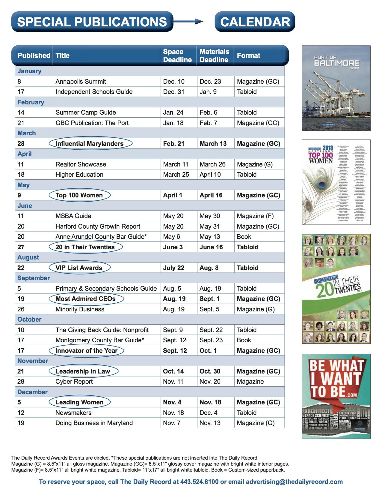 Special Publications Calendar-2014