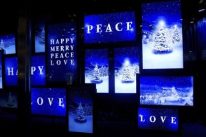 Bloomingdale's holiday windows in New York feature digital screens depicting a dreamy winter landscape.