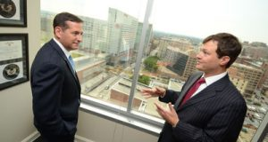 Charles 'Chad' Curlett Jr., right, shown with partner Steven H. Levin, represented James Owens on appeal. (The Daily Record/Maximilian Franz, Aug. 24, 2012)