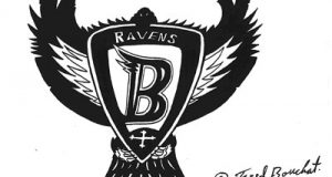Frederick E. Bouchat faxed a sketch of the above logo to the Baltimore Ravens' offices in 1996. In 1998, a federal jury found the 'Flying B' logo (shown below) infringed on Bouchat's sketch and the team changed its logo.