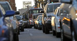Traffic around the intersection of Eastern Avenue and President St. in Baltimore around 8:30am on Tues October 7th, 2008. (Maximilian FranzThe Daily Record.)