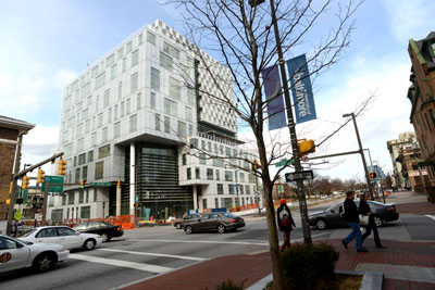 The John and Frances Angelos Law Center at UB Law. (Maximilian Franz/The Daily Record)