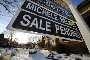 A sale pending sign is outside of a house in Mount Lebanon, Pa. (AP Photo/Gene J. Puskar)