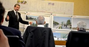 Werner Mueller of AECOM explains the design of the proposed Red Line platforms to the Urban Design and Architectural Review Panel members.