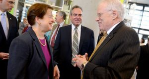 Supreme Court Justice Elena Kagan speaks with Ronald Weich, dean of the University of Baltimore School of Law (center) and Brit Kirwan, chancellor of the University System of Maryland, at the opening of the new law school building.