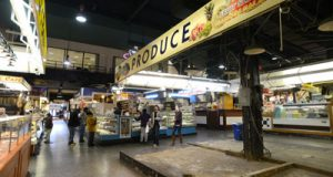 A produce stall sits vacant at Baltimore's centuries-old Lexington Market.