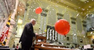 House of Delegates Speaker Michael E. Busch, D-Anne Arundel, is showered by paper confetti and balloons on Monday as the General Assembly adjourns following what leaders called the most productive session in recent memory.
