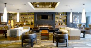 The lobby is meant to evoke the feeling of a resort or hotel