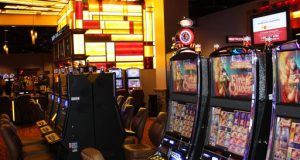 Slot machines are shown at the Rocky Gap Casino Resort near Cumberland, Md., on Monday, May 20, 2013.  The casino is tentatively scheduled to open Wednesday, pending approval by state regulators. (AP Photo/Cumberland Times-News, Greg Larry)