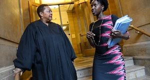 Baltimore City Circuit Court Judge Marcella A. Holland and her law clerk, Ajoke Agboda (Maximilian Franz/The Daily Record)