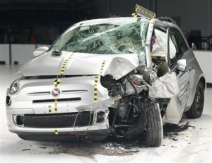 This undated photo provided by the Insurance Institute for Highway Safety shows he Fiat 500 during a crash test. The agency says the Fiat 500 and the Honda Fit were the worst performers of  the 12 minicars tested in terms of potential injury to drivers. (AP Photo/Insurance Institute for Highway Safety)