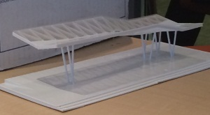 A model of a pavilion that will be built in a park that's part of the East Baltimore Development Inc. urban renewal project.