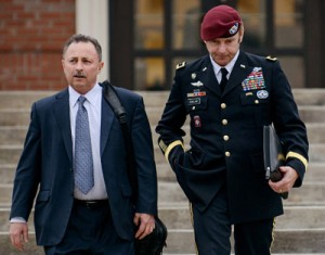 From left, attorney Richard Scheff and his client, Brig. Gen. Jeffrey Sinclair, leave the courthouse at Fort Bragg, N.C., after a motions hearing earlier this month. (AP Photo/The Fayetteville Observer, James Robinson, File)
