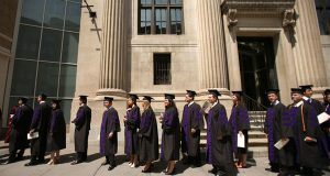 University of Maryland Law School Students line up outside of the Hippodrome for their graduation ceremony. (File photo)
