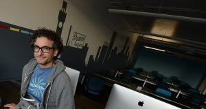 Greg Cangialosi, new CEO for Mission Tix, at Betamore, the Baltimore incubator he co-founded in Federal Hill. (The Daily Record/Maximilian Franz)
