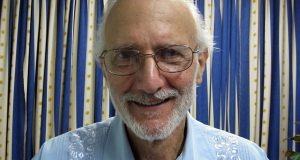 Jailed American Alan Gross poses during a November 2012 visit by Rabbi Elie Abadie and U.S. lawyer James L. Berenthal at Finlay military hospital in Havana, Cuba, in this photo provided by Berenthal to the Associated Press.