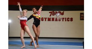 Stephanie Giameo, left, and Ebony Walters are two of the gymnasts on the  University of Maryland's highly regarded team. Maryland has agreed to outfit its gymnasts exclusively in Under Armour  attire. (The Daily Record/Maximilian Franz)
