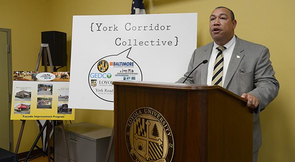 Baltimore City Councilman Bill Henry speaks at a meeting about revitalizing the York Road Corridor. (The Daily Record/Maximilian Franz)