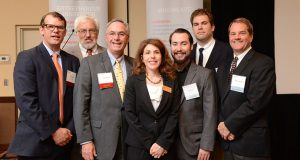 From left, Jack Lewin of M&T Bank; Casey Eitner of Nobel Life Sciences, winner of the Entrepreneur Award; John Wasilisin of TEDCO; Laurie Edberg, representing U.S. Sen. Barbara Mikulski; Dan Sines and Josh Spears of WooFound, Inc., winners of the Innovation Award; and Richard Hughen of CSA Medical, winner of the Corporate Excellence Award, at TEDCO's 4th Annual ICE Awards at the Sheraton in Columbia Thursday. (The Daily Record/Maximilian Franz)