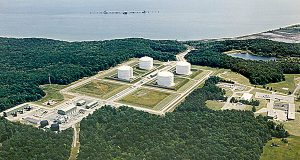 An undated aerial photo of the Dominion Liquified Natural Gas facility in Cove Point, Md. (Photo provided by Dominion Resources)