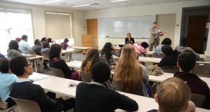 James Cabezas and Senior Assistant State Prosecutor Nicolle K. Norris talk to high school students from around Maryland about The State Prosecutor's Role in Elections & Voting at the MSBA-CLREP Law Day 2014 conference. (The Daily Record/Maximilian Franz)