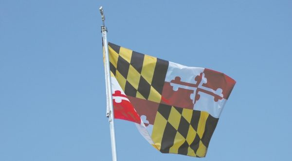 A Maryland flag blows in the breeze. (The Daily Record)