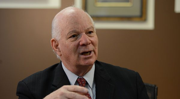 'We need to pass legislation that once and for all says racial profiling is wrong,' Sen. Ben Cardin said at Tuesday's briefing. 'How many more Michael Browns…are going to lose their life? How many Trayvon Martins?' (The Daily Record/Maximilian Franz)