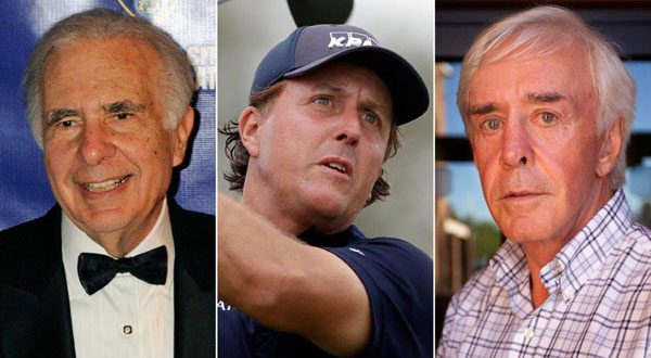 From left, financier Carl Icahn, pro golfer Phil Mickelson, and developer and high-profile sports better Billy Walters. A federal official says investigators are looking at stock trades that Mickelson and Walters made involving Clorox when Icahn was attempting to take over the company. There have been no charges filed against the three and the investigation could lead to nothing.  (AP PHOTO/HENNY RAY ABRAMS/WILFREDO LEE/LAS VEGAS REVIEW-JOURNAL, JESSICA EBELHA)