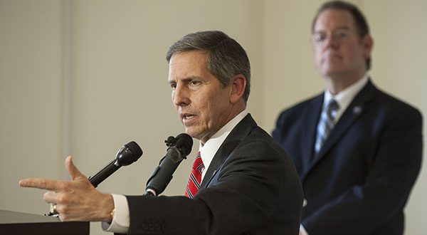 Acting Secretary of Veterans Affairs Sloan Gibson talks to reporrters at the Fayetteville, N.C., VA Medical Center on Thursday, June 12, 2014.  (AP Photo/The Fayetteville Observer,Raul R. Rubiera)