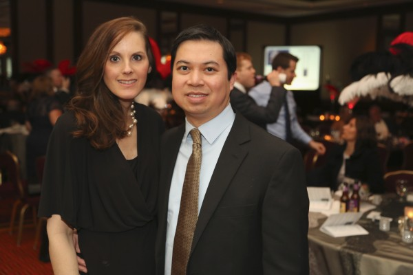 Jill Tran, Johns Hopkins Comprehensive Transplant Center, and Minh Tran, Johns Hopkins Heart and Vascular Institute, stand by their table.