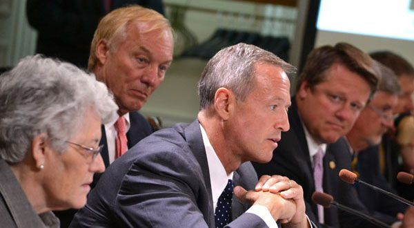 State Treasurer Nancy K. Kopp, Comptroller Peter V.R. Franchot, Gov. Martin O'Malley and Franchot's chief of staff, Len Foxwell, at Wednesday's Board of Public Works meeting. (The Daily Record/Bryan P. Sears)