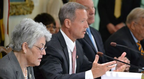 State Treasurer Nancy K. Kopp, Gov. Martin O'Malley and state Comptroller Peter V.R. Franchot Wednesday voted to cut $84 million from the state budget. (The Daily Record/Bryan P. Sears)