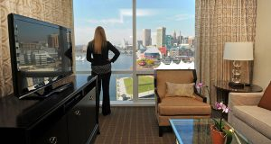The view from an executive suite in the Four Seasons Hotel Baltimore. The city's lodging industry is enjoying a surge in new facilities and in bookings, mirroring a national trend. (The Daily Record/Maximilian Franz)