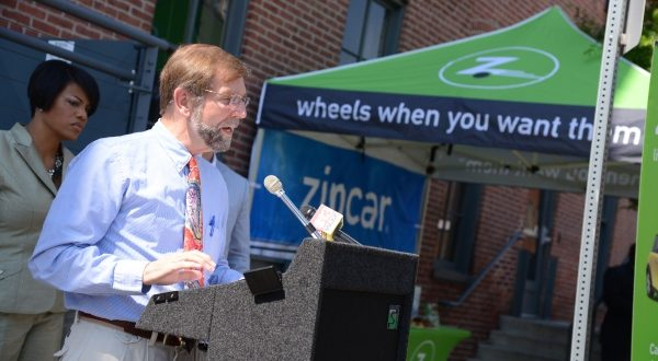Councilman James Kraft speaks at the opening on Zipcar's offices in Baltimore.  (The Daily Record/Maximilian Franz)