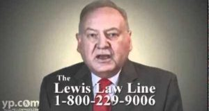 Neil Lewis is shown in a video advertising the Lewis Law Line.