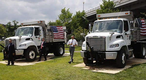In this July 1, 2014, file photo, President Barack Obama walks towards the stage to speak about transportation and the economy at the Georgetown Waterfront Park in Washington. Obama on July 15 will visit a federal highway research center in northern Virginia. The trip is part of Obama's push for Congress to shore up funding for highways and transportation. He says that's key to keeping the U.S. competitive. (AP Photo/Charles Dharapak, File)