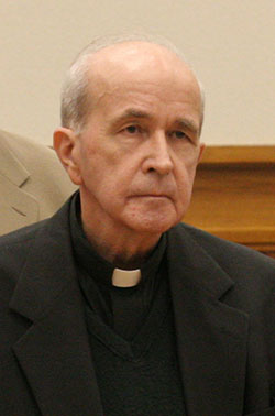 In this Thursday, May 11, 2006 photo, in Toledo, Ohio, the Rev. Gerald Robinson, a Roman Catholic priest, listens as the verdict is read finding him guilty of killing Sister Margaret Ann Pahl. In a motion filed in federal court Friday, June 20, 2014, Robinson was asking a federal judge in Ohio to let him spend his final days at a nursing home run by nuns. (AP Photo/Andy Morrison, Pool, File)