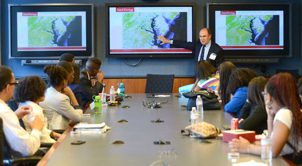 Students at the Summer Legal Institute had the chance to learn the ins and outs of the legal profession from local attorneys like Randy Lutz, chairman of Saul Ewing's Environmental Practice Group, on Friday at Exelon Corp.'s Baltimore office. (The Daily Record/Maximilian Franz)