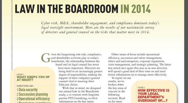 Law in the Boardroom in 2014; FTI/Corporate Board Member magazine