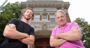 From left, brewmaster Ian Hummel and his father Harry Hummel, owner of Brew House No. 16, stand outside of their planned brewery and restaurant in a former Mt. Vernon firehouse. (The Daily Record/Maximilian Franz)