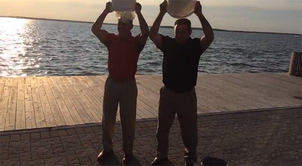 Lt. Governor Anthony Brown and Howard County Executive Ken Ulman take the ALS Ice Bucket Challenge after being called on by their rivals in the race for the State House. The video is posted on the Brown-Ulman campaign pages, which is not banned by the state ethics law.