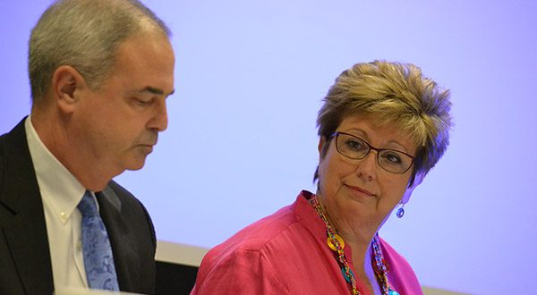 Baltimore County State's Attorney Scott D. Shellenberger and Del. Kathleen M. Bumais, vice chairwoman of the House Judiciary Committee, at the Maryland Association of Counties convention in Ocean City. (The Daily Record/Bryan P. Sears)