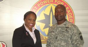Alice Williams, chief associate director for CECOM Office of Small Business Programs and Maj. Gen. Bruce T. Crawford, who took over command at the Proving Ground this spring. (The Daily Record/Lizzy McLellan)