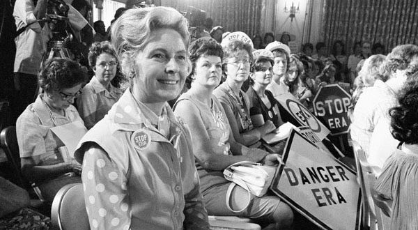 From left, Phyllis Schlafly, national chairwoman of Stop ERA, sits with other women opposed to the Equal Rights Amendment at a hearing of a Republican platform subcommittee in Kansas City, Mo., on Aug. 10, 1976. Schlafly, now 89, says those trying to revive the ERA are 'beating a dead horse.' (AP Photo)