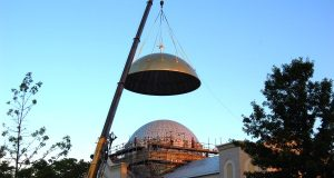 A five-ton gold dome being installed on an addition to St. Mary's Antiochian Orthodox Church in Hunt Valley. (Photo Courtesy of LH&A Inc.)