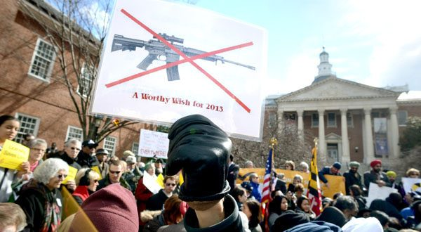 Supporters of the Firearm Safety Act of 2013 rally outside the State House in this photo from March 1, 2013. (The Daily Record/Maximilian Franz)