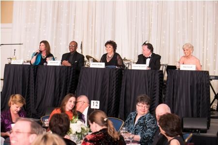 From left, Judge Katie O'Malley, Stan Stovall, Debbie Phelps, Vincent M. Lancisi and Jane Sewell judge the competition.